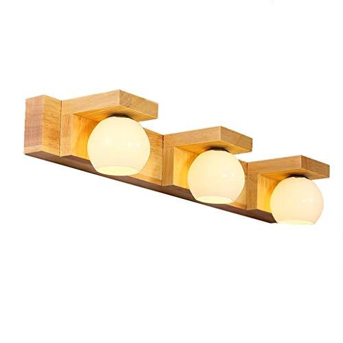 WENYAO Badezimmerspiegelleuchte - Nordic Solid Wood Bad-WC LED-Spiegelleuchte, Frisiertischlampe, Wandlampe, Keine Lichtquelle (warmweiß) Vanity Light (Größe: DREI Köpfe)