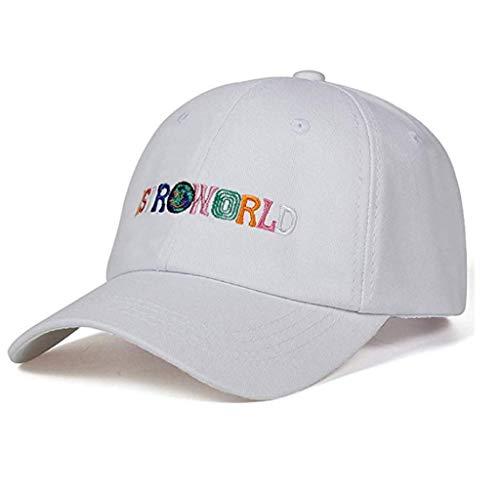 Unisex ASTROWORLD Bestickt Papa Hut Frauen Männer Süß Einstellbar Hiphop Baseballmützen Travis Scotts Caps (White, one Size)