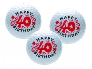 CEBEGO Golfballset HAPPY-40er, Golfball und Golfbälle,Geburtstagsmotiv