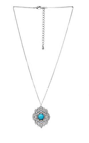 Arabesque Antike (Halskette aus Metall silber antik und Steingarten türkis–Anhänger Arabesque)