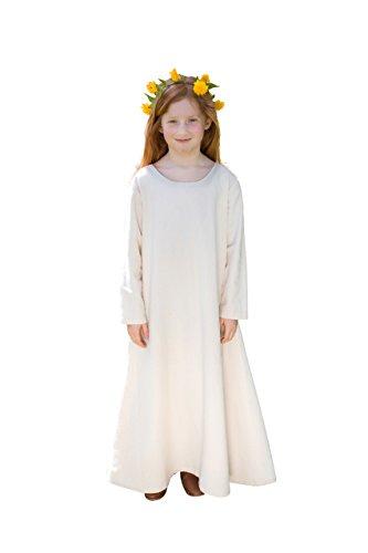 Elbenwald Mittelalter Kinder Unter Kleid Langarm Kostüm Zubehör Natur Baumwolle - - Kelten Kostüm Kinder