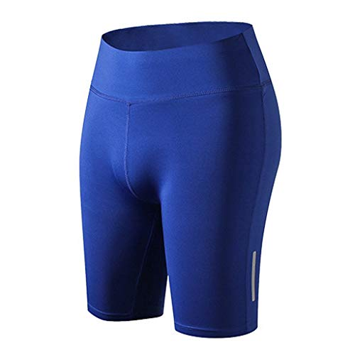 iYmitz Damen Women's Active Pants Hose Sports Shorts Yoga Running Fitness Stretch Tights Frauen Kurze Hosen(Blau,S) -