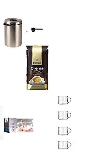Xavax Kaffeedose für 1kg Kaffeebohnen, Tee, Kakao, mit Aromaverschluss, Edelstahldose, silber +Dallmayr Kaffee Crema d'oro mild und fein Kaffeebohnen, 1er Pack (1 x 1000 g Beutel) + Design Glastasse, Kaffeetasse, Kaffee, Tasse, Glas, Espresso 100ml, 4er Pack im Geschenk Karton