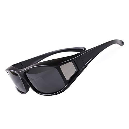 Retro Vintage Sonnenbrille, für Frauen und Männer Polarisierte Sonnenbrille uv Schutz Slip Full Frame schwarz grau objektiv Outdoor Fahren Fahrrad Erwachsene männer & Frauen (Farbe : Black01)