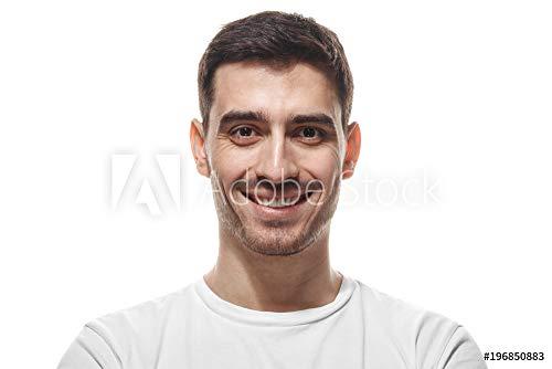 druck-shop24 Wunschmotiv: Close up Headshot of Smiling Attractive Man in White t-Shirt Isolated #196850883 - Bild als Klebe-Folie - 3:2-60 x 40 cm / 40 x 60 cm