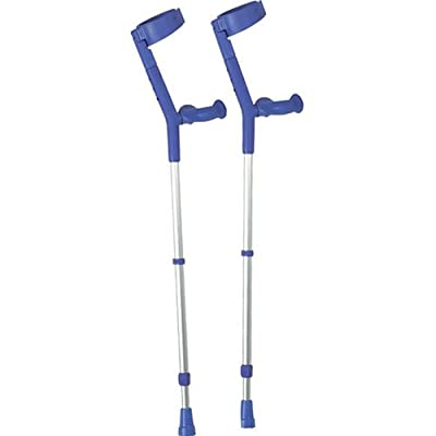 Performance Health Soft Grip Comfort Height Adjustable Crutches with Blue Handle
