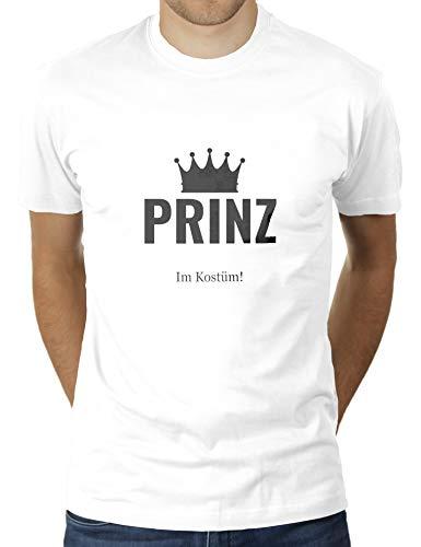 Prinz in Kostüm - Faschingskostüm Karnevalskostüm - Herren T-Shirt von KaterLikoli, Gr. L, Weiß