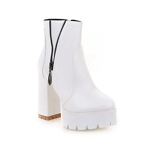 AllhqFashion Damen Blockabsatz Pu Leder Hoher Absatz Reißverschluss Rund Zehe Stiefel Weiß