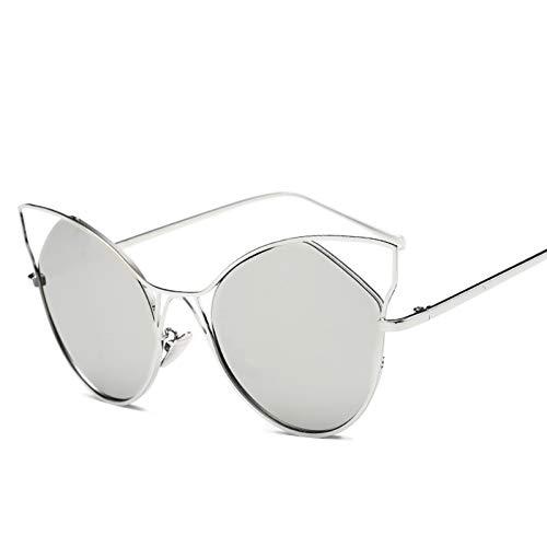 Taiyangcheng Cat Eye Sonnenbrille Frauen Metallrahmen Spiegel Sonnenbrille Weiblich,Silber-