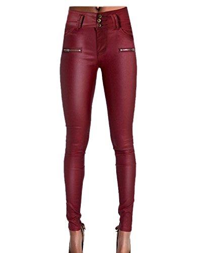 Auxo Damen PU Leder Hohe Taille Bleistift Stretch Legging Leggins Slim Lang Hose Pants Weinrot EU 40-42/Etikettgröße L (Hohe Leder-pants)