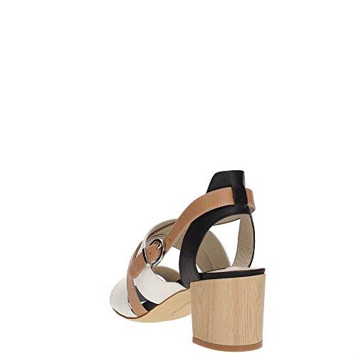 Luciano Barachini 8052B Sandalo Donna CAMEL/BIANCO/NERO