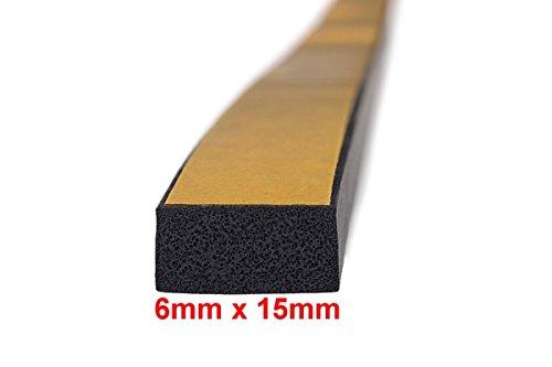 10m-Moosgummidichtung Vierkant selbstklebend 6mm x 15mm - MVS 500615