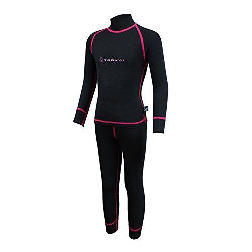 ROUGH RADICAL Kinder Funktionsunterwäsche Set Shirt & Hose Thermounterwäsche (104/110, Amanda schwarz/pink) | 04250744446046