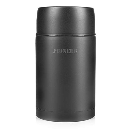 83d7e9a47a5a Pioneer Vacuum Insulated Leakproof Soup/Food Flask, 8 Hours Hot 24 Hours  Cold, Black, 1000 ml