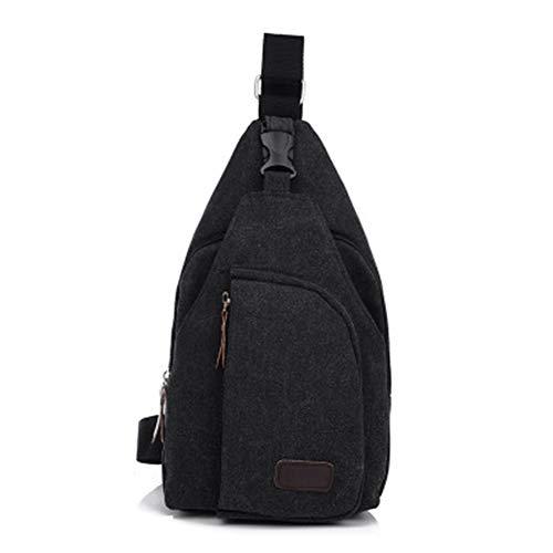 QINEOR Männer Vintage Canvas Leder Satchel Schulter Sling Brust Pack Bag Slingshot Bag Brust Pack,4,B -
