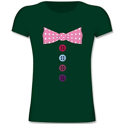 Karneval & Fasching Kinder - Clown Kostüm rosa Fliege - 164 (14-15 Jahre) - Tannengrün - F131K - Mädchen Kinder T-Shirt