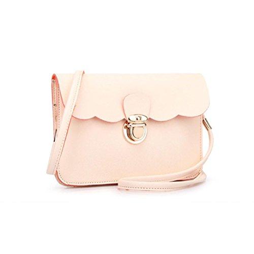 Vovotrade® Le donne di spalla del cuoio della borsa del Hobo Messenger (Rosa) Beige