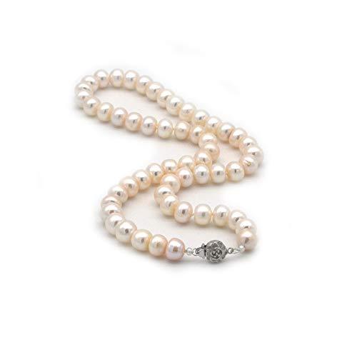 ELAINZ HEART alta qualità vera grande collana di perle da sposa, 45cm A2AAA fine lustro bianco 9-10mm perle di puro bottone coltivate d'acqua dolce