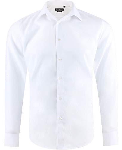 Camicia uomo slim fit bianco manica lunga collo alla francese taglia m