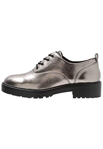 Even&Odd Damen Schnürschuh mit Blockabsatz - Halbschuh zum Schnüren, Silber in Größe 38