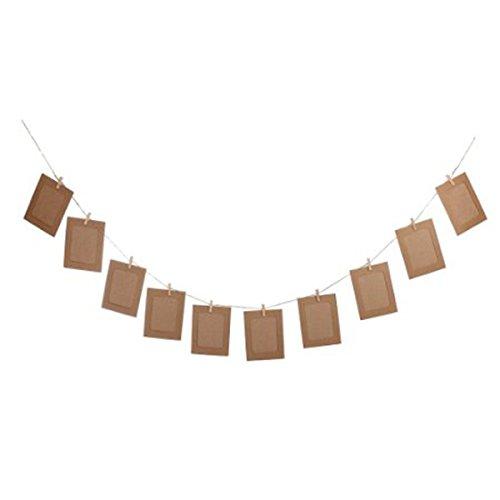 ROSENICE Colgar Album foto marco Clip Kraft papel cadenas cuerda Clips Sets DIY 6 pulgadas para boda decoración de la guirnalda 10pcs