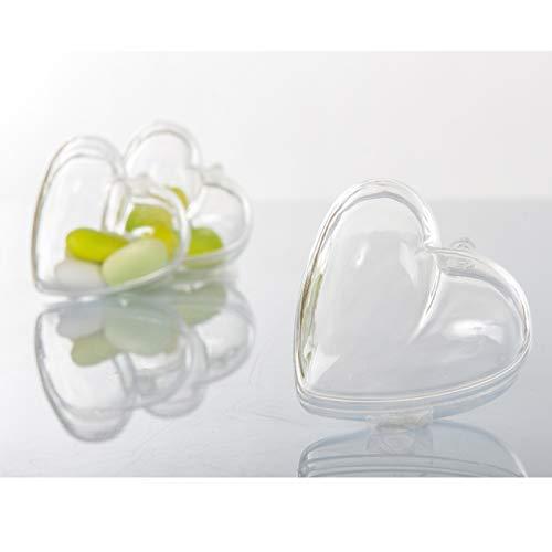 Aurora store.it 20 scatole a forma cuore plexiglass trasparente bomboniere confetti 6.5x6.2 cm