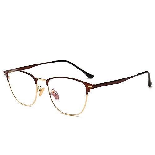 AHXN Blue Light Blocking Metall Lesebrille Für Anti Augen Müdigkeit Kopfschmerzen Vintage Brillen, Unisex (Männer/Frauen)-Brown