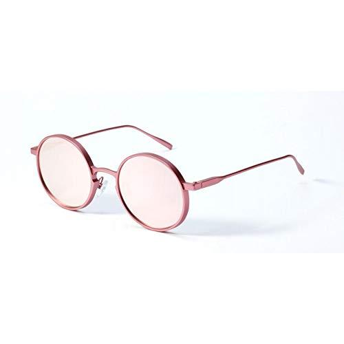 SUNNYJ Sonnenbrille Runde Metall Steampunk Sonnenbrillen Damen/Herren Damen Classic Vintage Sonnenbrille Wide Frame Eyewear 29 Pink