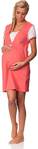 Be Mammy Damen Stillnachthemd 2M3L6 Coral/Weiß