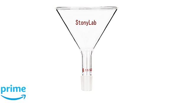 StonyLab Glass Short Stem Powder Funnel with 50 mm Top O.D and 24//40 Inner Joint Filter Funnel Glass Funnel