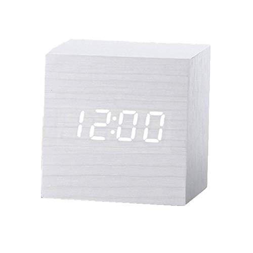 Xinfang Mini-Wecker aus Holz mit LED-Digital-Wecker, kleiner Raum, multifunktional, elektronischer Wecker