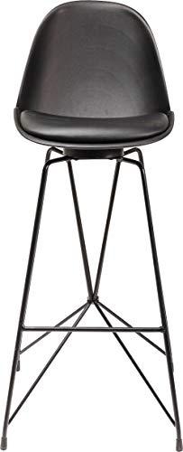 Kare Design Barhocker Wire Black, moderner, massiver Design-Tresenstuhl mit Rücklehne, Bar Stuhl, Barstuhl, Mattschwarz-schwarz, (H/B/T) 104x40x49cm