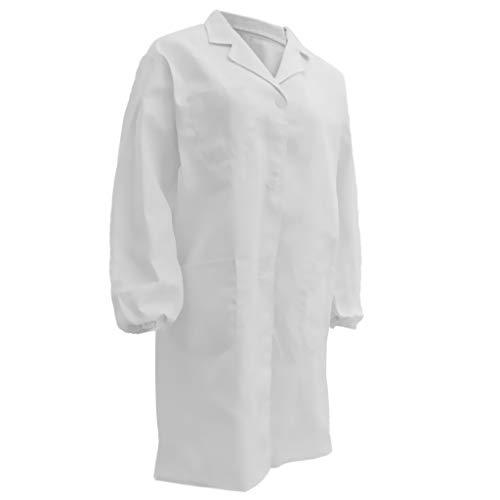 Lange Damen-kittel (KESOTO Unisex Langärmelig Labormantel Berufsbekleidung Damen Herren Kittel Visitenmantel lange Ärmel Mantel - Weiß 175cm)