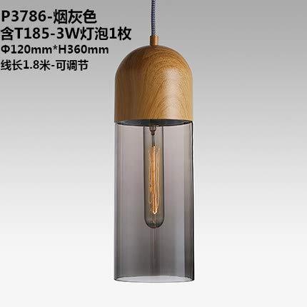 Lx.AZ.Kx E27 Pendelleuchte Europäische minimalistischen Glas Pendelleuchten Schattierungen Holztreppe Pendelleuchten, P 3786 - Rauchgrau
