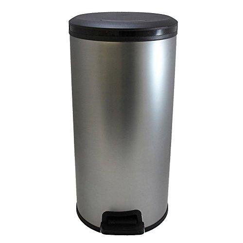 CURVER | Poubelle à pédale Slim ronde 30L, Métal brossé, Metal Bins, 33,6x29,5x58,9 cm
