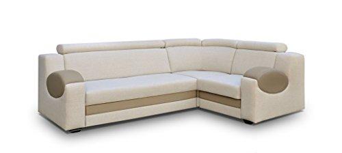 große Ecksofa Sofa Eckcouch Couch mit Schlaffunktion und Bettkasten Ottomane L-Form Schlafsofa Bettsofa Polstergarnitur - PARIS (Ecksofa Rechts, Creme) - Couchgarnitur Ottomane