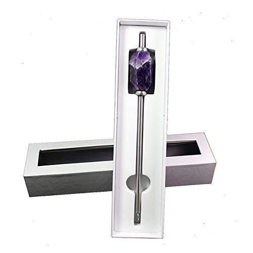 Saniswink Wiederverwendbare Einstellbare 304 Edelstahl Stroh Natürlichen Kristall Hexagonal Prism Energy Rod (Crystal Stroh + Pinsel + Geschenkbox) Lila -
