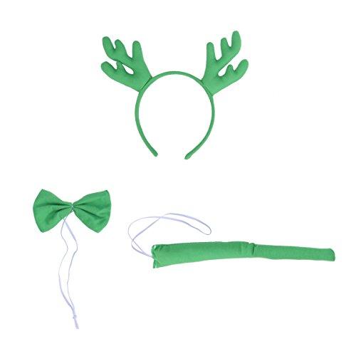 BESTOYARD Rentier Stirnband Hirschgeweih Stirnband Weihnachten Fliege Kostüm Schwanz Set für Kinder Cosplay Weihnachten Dressing Up 3 teile / satz (Grün)
