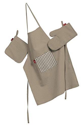 Dekoria Küchenset: Schürze, Handschuh, Topflappen Husse Set Hellbraun
