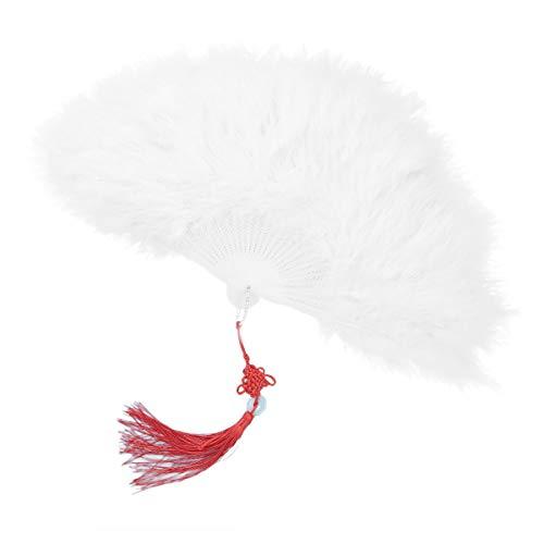 Agoky Vintage Feder Handfächer flauschig Faltfächer Flapper Kleider Kostüm Accessoires Hochzeit Party Halloween Tanzen Weiß One Size