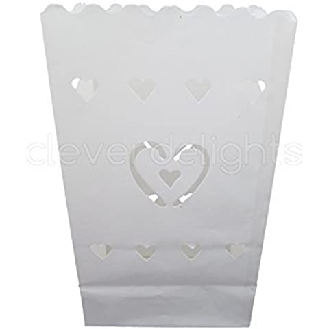CleverDelights White Luminary Bags - 50 Count - Center Heart Design - Wedding, Reception, Party and Event Decor - Flame Resistant Paper - Luminaria by CleverDelights