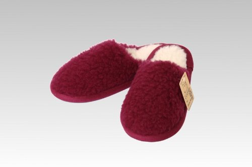 Pantoffel Wolle farbig, 100 % Schurwolle i. F., Farbe Bordeaux Bordeaux