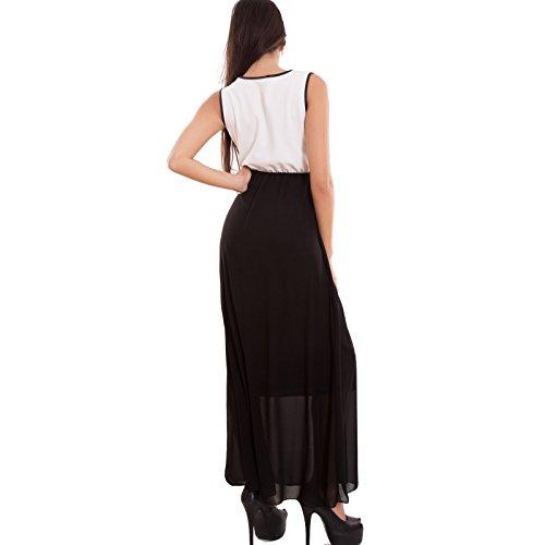 Toocool - Vestito donna abito lungo velato scozzese tartan zip senza maniche nuovo AS-4802 Bianco