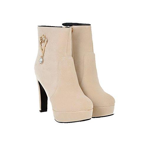 AllhqFashion Damen Nubukleder Niedrig-Spitze Eingelegt Reißverschluss Stiefel Cremefarben