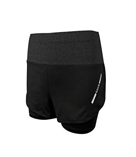 EU 32-38 Damen Hohe Taille Laufen Shorts 2 in 1 Schlank Sport Kurze Hose Training Yoga Gym Fitnesshose Outdoor Short Schnell Trocknend (Dunkelgrau XL)