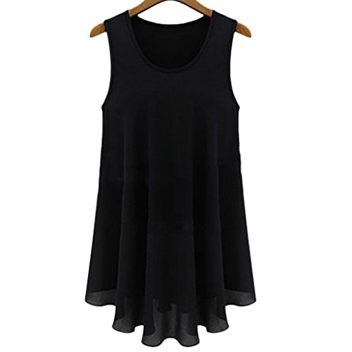 Frauen Sommer lose Casual Plus Größe Chiffon Ärmellos Bluse Shirt Tops Black