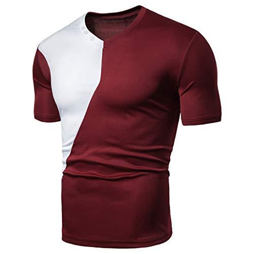Herren Kurzarm Rundhals T-Shirt Oversize Custom Fit in vielen Farben Vegan Sommer Fit Patchwork Kurzarm T-Shirt Tops Bluse (Rot, L)