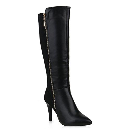 Klassische Damen Schuhe Stiefel Leder-Optik Boots Stiletto High Heels 153230 Schwarz Autol 40 | Flandell® (High Heel Leder Stiefeletten)