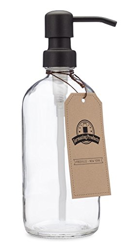jarmazing Produkte Klar Glas Pint Jar Seife und Lotion Spender mit Metall Pumpe - Black / Dark Bronze -
