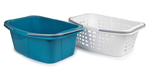 Beldray LA030450TQEU LA030450TQ Wäschekörbe aus Kunststoff mit Griffen, 2er-Set, türkis, Plastik, 51x41x24cm